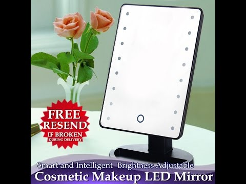 Brightness Adjustable Cosmetic Makeup LED Mirror with Cosmetic Organizer