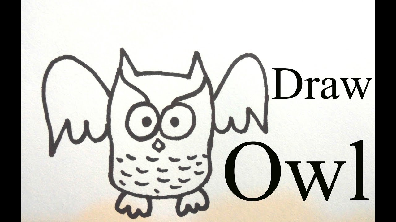 how to draw a words owl into a cartoon owl step by step very easy