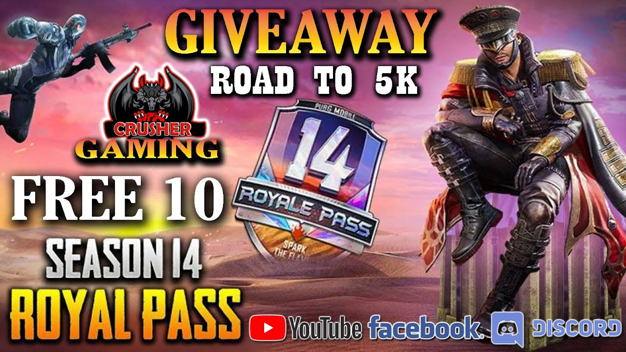 !! FREE PUBG MOBILE 10 ROYAL PASS GIVEAWAY !! ROAD TO 5K COMPLETE SUBSCRIBE !!  CRUSHER GAMING !!