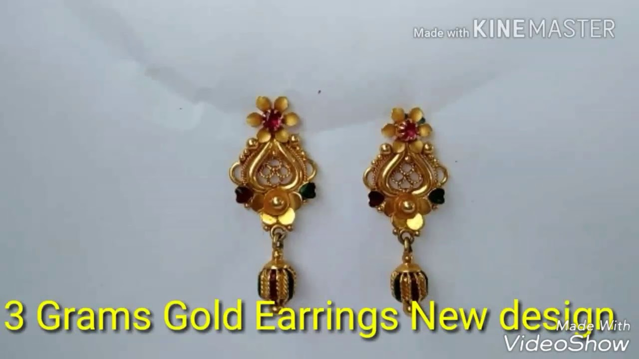 3 Grams Gold Earrings New Design You
