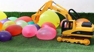 รถแม็คโครเจาะลูกโป่ง รถดั้ม รถบรรทุกคันใหญ่ Excavator truck and balloon