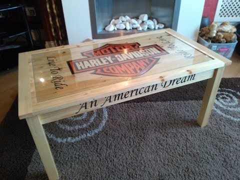 Custom Cut Harley Davidson Coffee Table Youtube