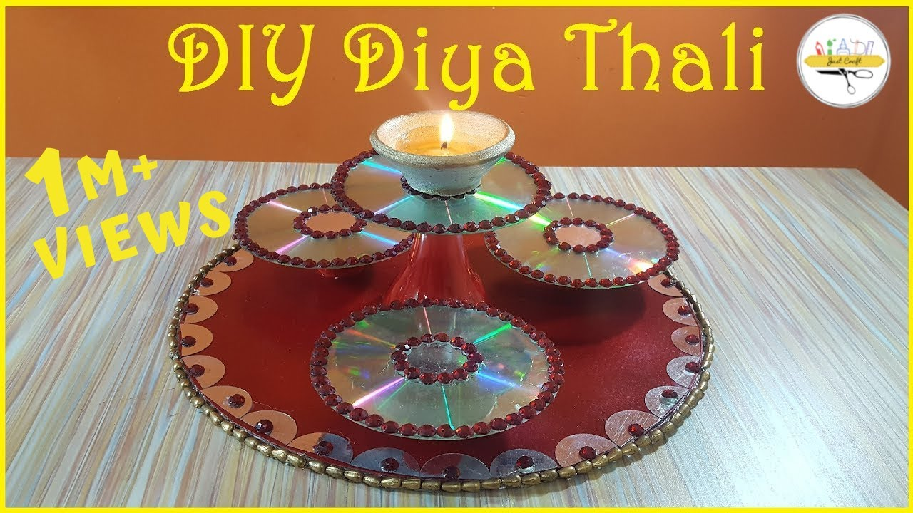 Diy diya thali decorative thali msjustcraft 5 minute for Diya decoration youtube