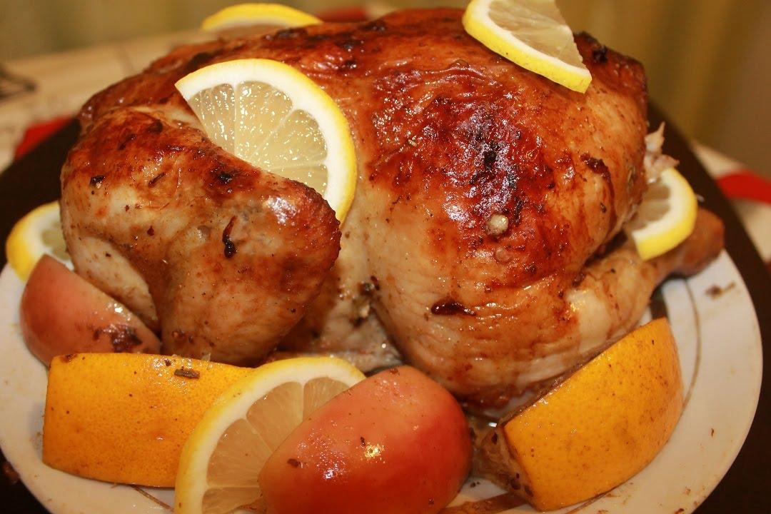 запечённая курица в духовке с яблоками рецепт с фото