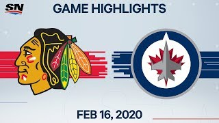 NHL Highlights | Blackhawks vs Jets - Feb. 16, 2020