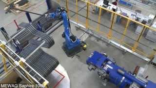 MEWAG Rohrbiegmaschine Saphire 100 mit Roboter und Greifer mit Locherkennung langes Rohr