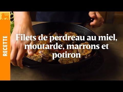 Filets de perdreau au miel, moutarde, marrons et potiron