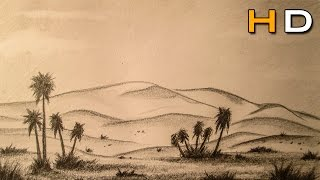 How to Draw a Desert Landscape with pencil Step by Step - Timelapse