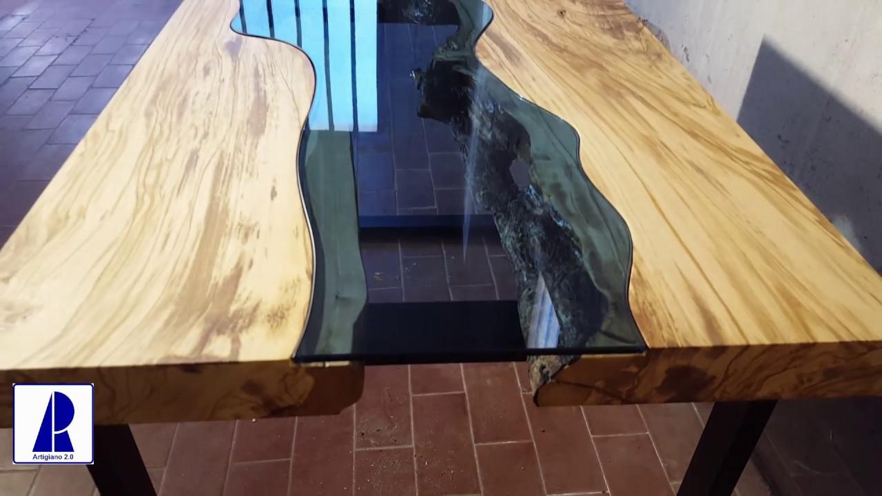 Tavolo Legno E Resina Prezzo tavolino olivo e cristallo - river table pt2