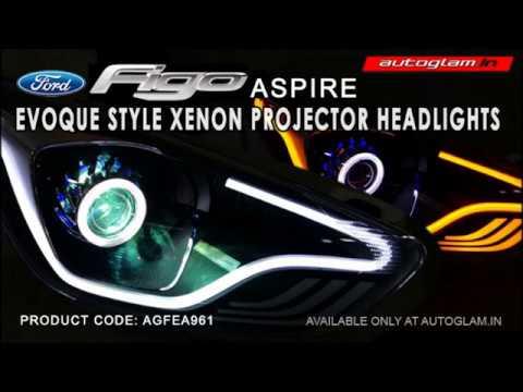 agffa961, ford figo aspire evoque style xenon projector headlights with  55watt xenon hid - youtube  youtube