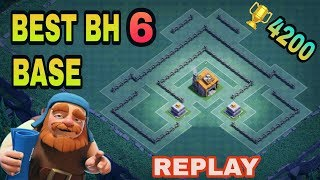 BEST BUILDER HALL 6 (BH6) BASE WITH REPLAY | TOP BH6 DEFENSIVE TROPHY BASE DESIGN | CLASH OF CLANS