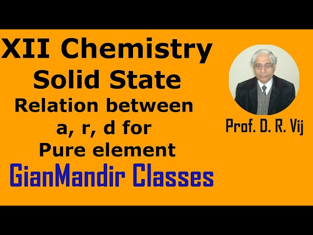 XII Chemistry | Solid State | Relation between a, r, d for Pure element by Gaurav Sir