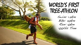 World's First Tree-Athlon | Swim: 1.5km, Bike: 40km, Run: 10km with 100lbs Tree