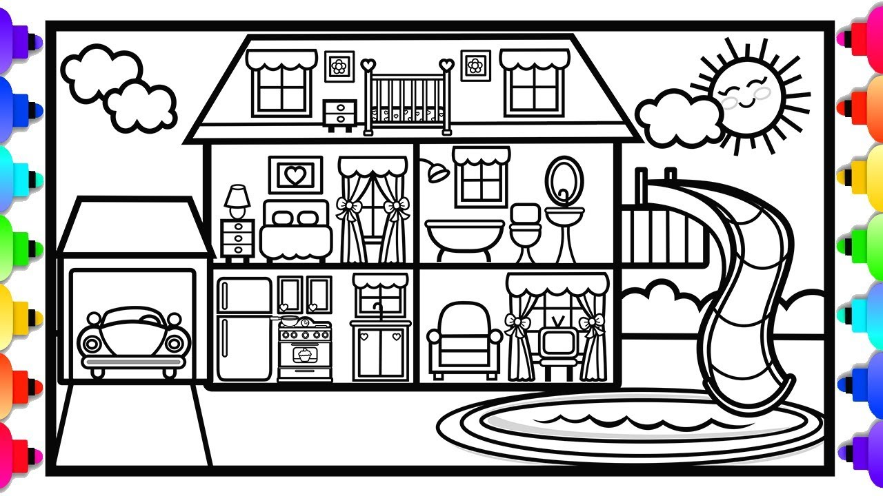 how to draw a fun house  a swimming pool and a slide