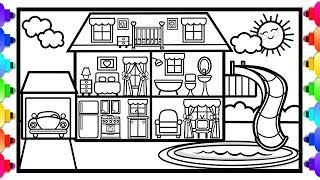How to Draw a House with a Swimming Pool and a Slide 💦🌈🏡 House Coloring Page for Kids 🏡🌈💦