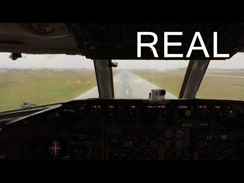 Danish Air Transport cockpit Md87 landing in Billund Airport