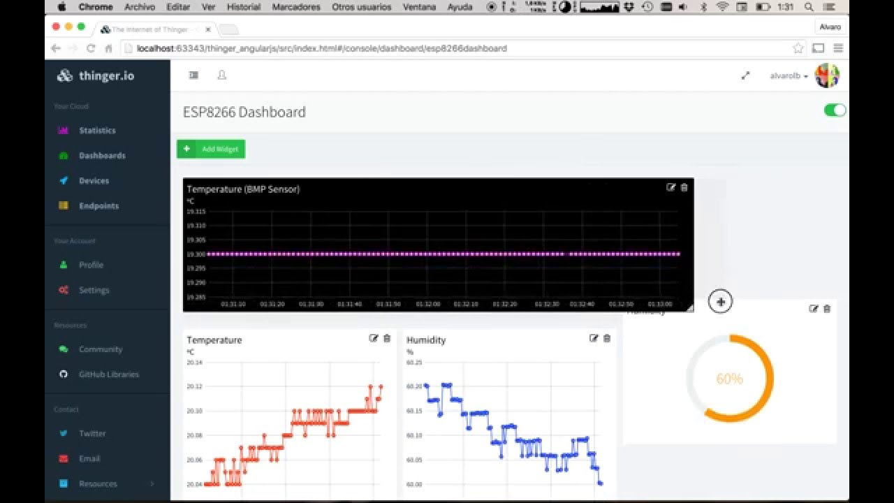 Thinger io Dashboard Preview