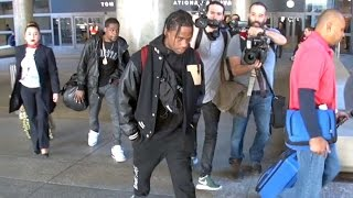 Rapper Travis Scott Acting Silly At LAX After Launching His Label 'Cactus Jack Records'