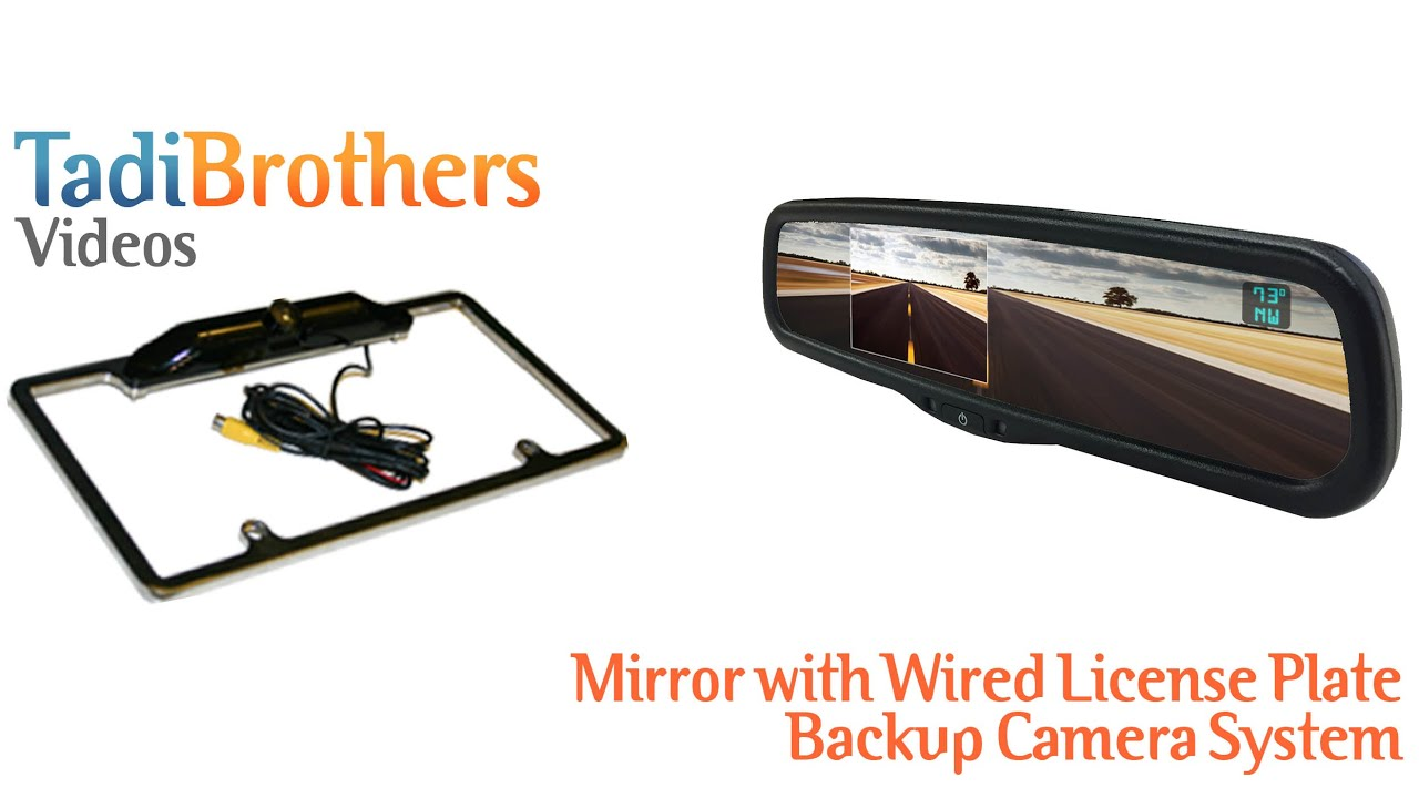 full mirror with wired license plate backup camera systems. Black Bedroom Furniture Sets. Home Design Ideas