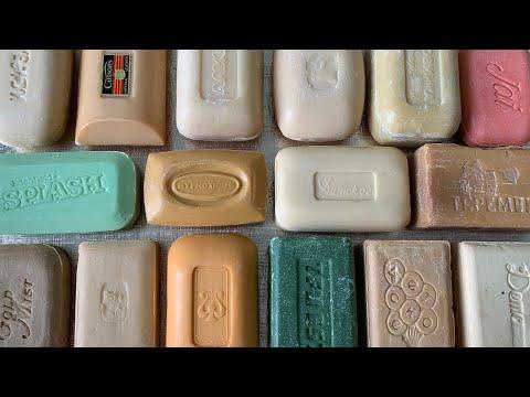 Огромный сэт винтажного мыла| 17 брусков мыла из разных стран| ASMR DRY vintage soap