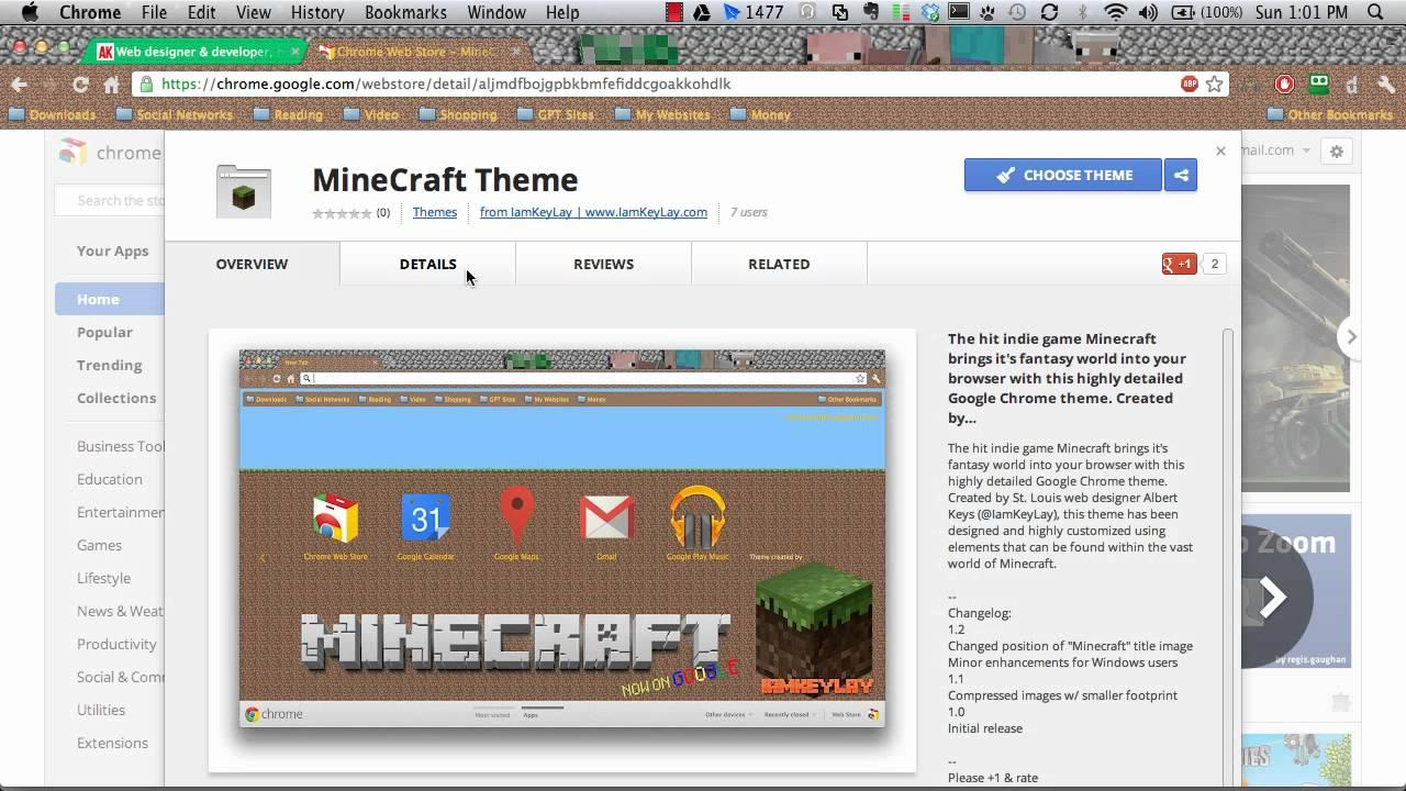 Google chrome themes yosemite - Minecraft Google Chrome Theme By Iamkeylay Mac Windows Linux Hd