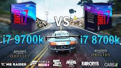 Intel Core i7 9700k vs i7 8700k Test in 8 Games