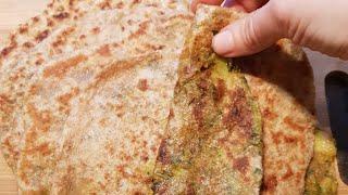 طريقة الخبز الأسمر الهندي المحشي بالبطاطا والسبانخ...paratha aloo and sag
