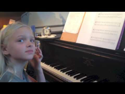 A 9-year-old student (7 mos.) piano study, maps out her practice routine: Gillock's Summertime Polka