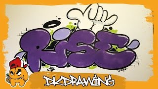 Graffiti Tutorial - How to draw rise graffiti bubble style letters