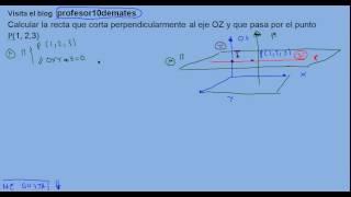 Ecuación de una recta que corta perpendicularmente a un eje y pasa por un punto