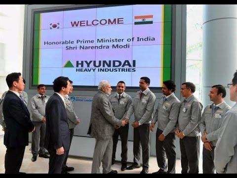 Narendra Modi visits the Hyundai Heavy Industries Shipyard in Ulsan