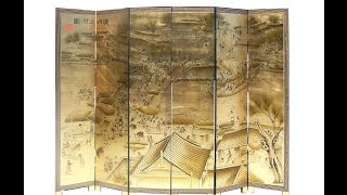 6 Pieces/set Chinese Wooden Double Sides Gold Painted Room Divider Panel Wk2817