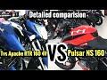 Bajaj pulsar NS 160 VS TVS Apache RTR 160 4V | Detailed comparision in Hindi