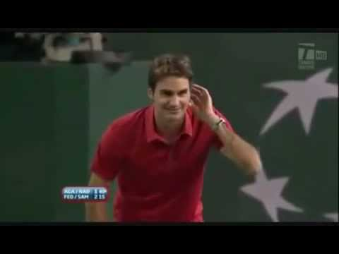 Hit for Haiti - Federer wants Agassi to Serve at 113 mph , Agassi serves 114 mph.