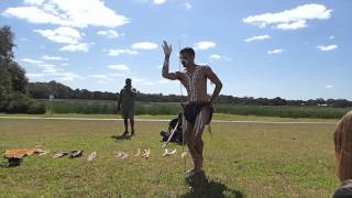Aboriginal dancer Adrian performing the Emu dance