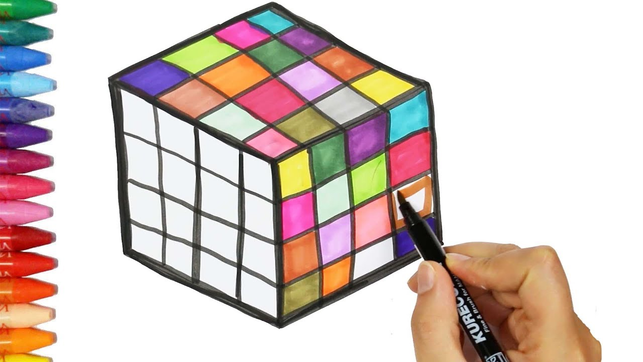 how to draw and color rubik u0027s cube drawing and coloring rubik u0027s