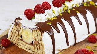 Butterkekskuchen mit Pudding und Bananen - Nur 5 Zutaten I Piramit Pastasi
