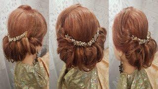 Прически Греческая прическа на средние волосы. легкий вариант hairstyles объёмная прическа снизу