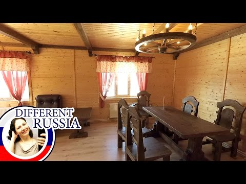 Inside Modern Russian Country House with Historical Furniture. Folk Traditions in Present-Day Life