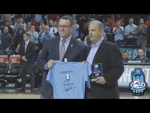"""Wes Durham Accepts Award For Late Father """"Voice of the Tar Heels"""" Woody Durham"""