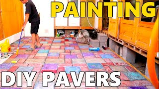 How To Paint And Point DIY Pavers, Mobile Home Build (PAVER PART 3)