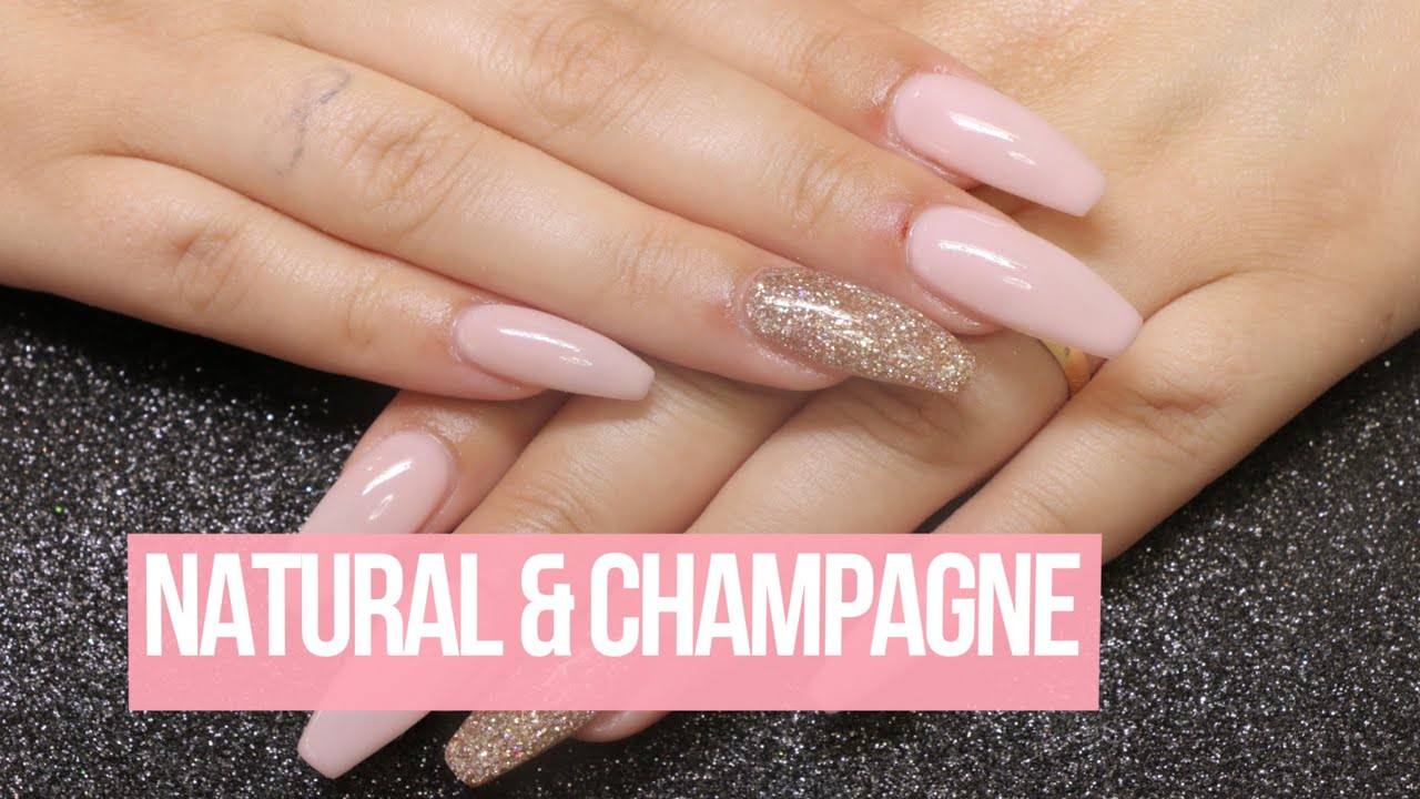 Acrylic Nail Design: Natural & Champange - YouTube