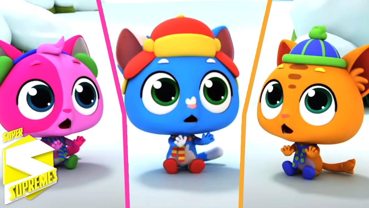 Tres gatitos   Canciones infantiles   Educación   Super Supremes Español   Dibujos animados