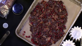 Melissa Clark Makes Chocolate Bark With Pomegranate Seeds And Candied Bacon