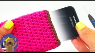 Crochet cell phone case tutorial - DIY How to crochet a cute iPhone cover in pink