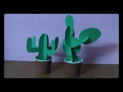 How to make 3D cactus with paper   #papercactus   DIY REMIX