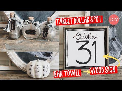 Halloween DIY Home Decor Ideas | HOW TO: Wood Sign using TOWEL | Ashleigh Lauren