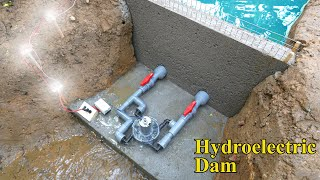 Mini Hydroelectric With 4 Water Supply Lines Input. Mini Dam Hydroelectric