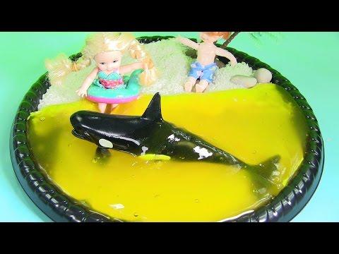 Bãi Biển Slime Màu Vàng! Búp Bê Em Bé Đi Tắm Biển Slime Chơi Với Cá Voi