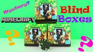 New Minecraft Mini Figure Mystery Blind Boxes Toy Review & Unboxing, Mattel